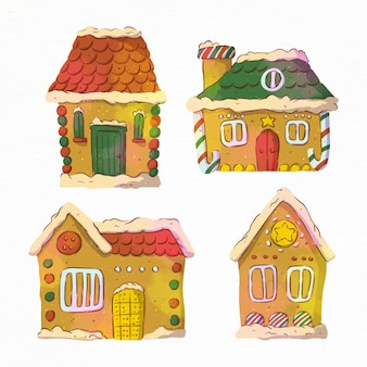 Watercolor gingerbread house collection