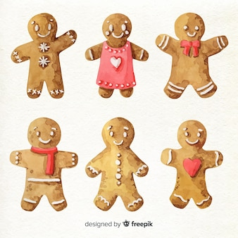 Watercolor gingerbread man collection