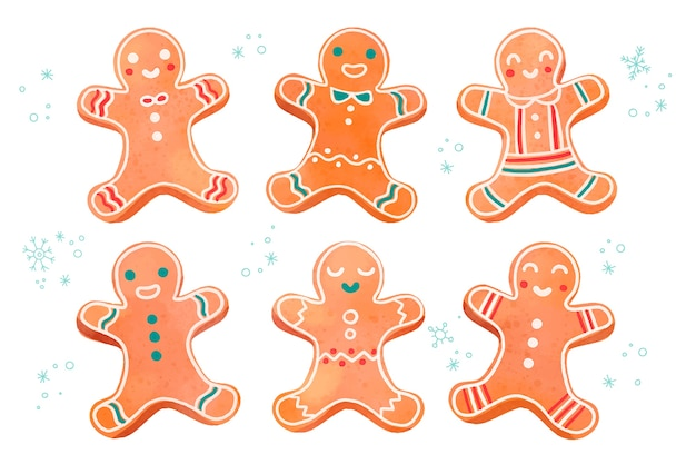 Watercolor gingerbread man cookie collection