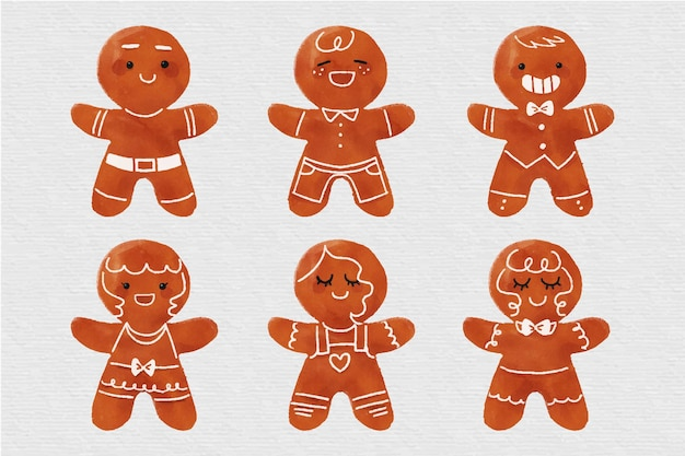Watercolor gingerbread man cookie