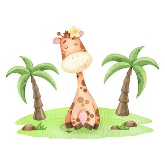 Watercolor giraffe on the island nice children's illustration