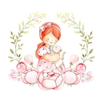 Акварельная девушка и кошка и цветы