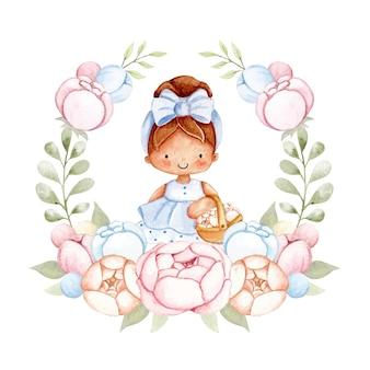Акварельная девушка и цветы