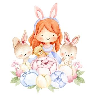 Акварельная девочка и кролик