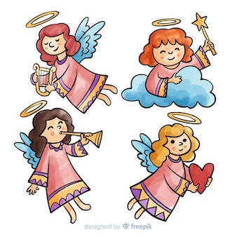 Watercolor girl angels collection