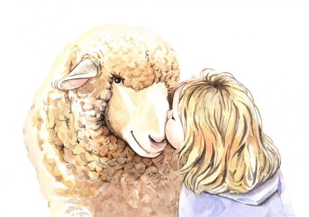 Watercolor girl kisses sheep illustration.
