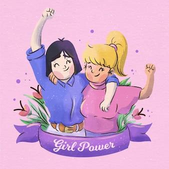 水彩の女の子の力のイラスト