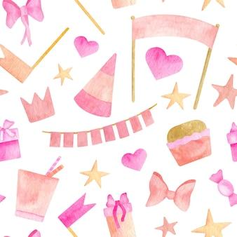 수채화 소녀의 핑크 파티 완벽 한 패턴입니다. 귀여운 생일 배경입니다.