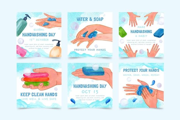Watercolor global handwashing day instagram posts collection
