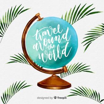 Watercolor globe background