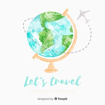 Watercolor globe travel background
