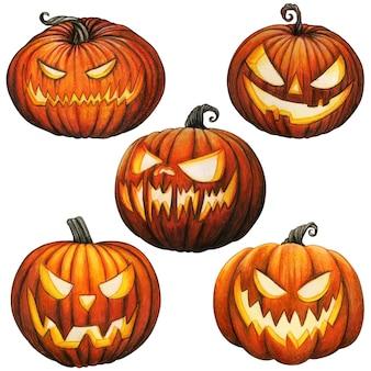 Watercolor glowing carved pumpkins
