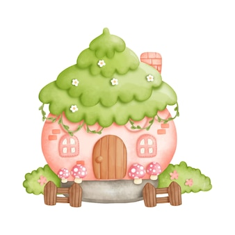 Watercolor gnome house, little house.