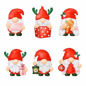 Акварельные гномы рождественский клипарт, цифровая живопись