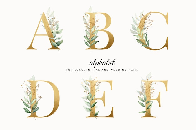 Watercolor gold alphabet set of a b c d e f with leaves gold for logo cards branding etc