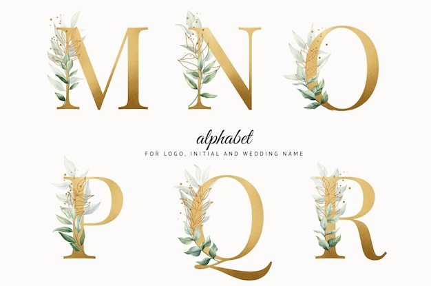 Watercolor gold alphabet set of m n o p q r with leaves gold for logo cards branding etc