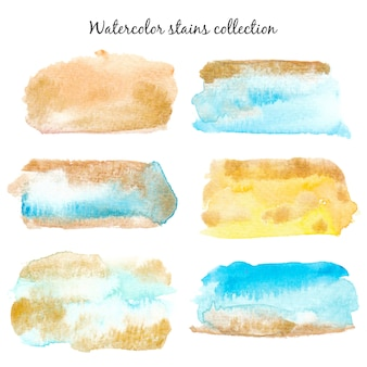 Watercolor gold and colorful paint stains