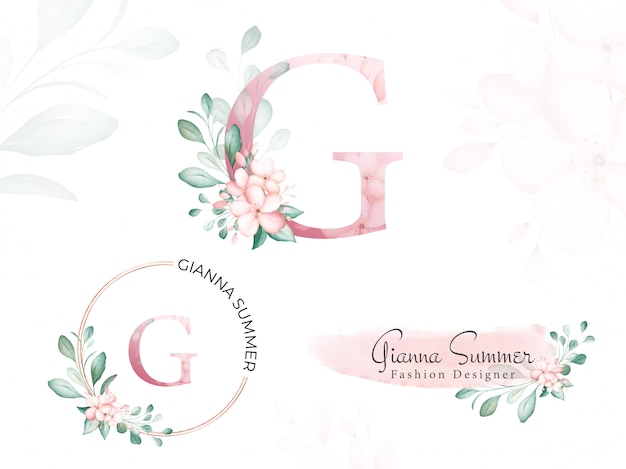 Watercolor gold floral logo set for initial g of soft flowers and leaves.