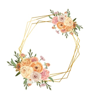 Watercolor gold frame decorated with boho flowers and leaves