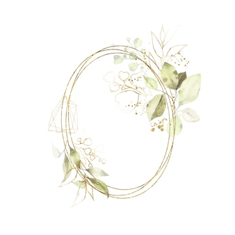 Watercolor gold geometrical round oval frame with green leaves