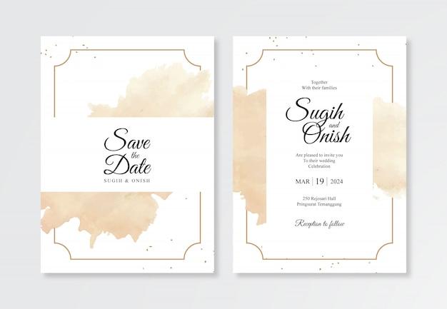 ミニマリストの結婚式の招待状テンプレートの水彩ゴールドスプラッシュ