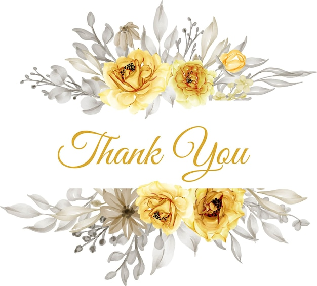 Watercolor gold yellow rose flower with thank you