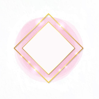 Watercolor golden frame diamond shape
