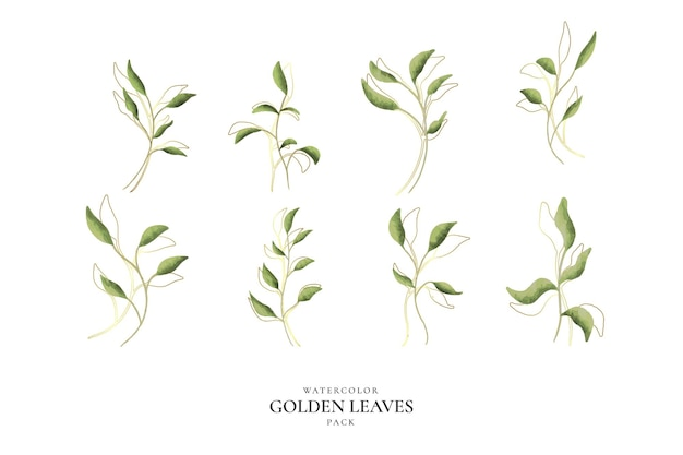 Watercolor golden leaves pack