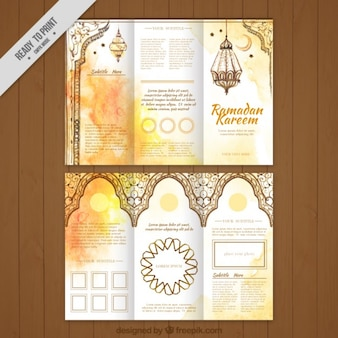 Watercolor golden ramadan trifold