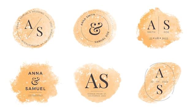 Set di monogrammi di nozze d'oro ad acquerello