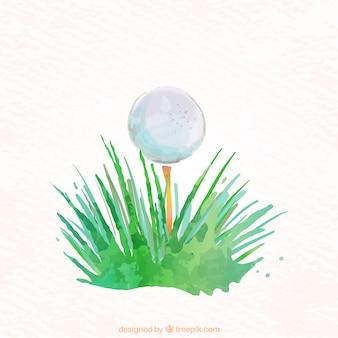 水彩ゴルフボール
