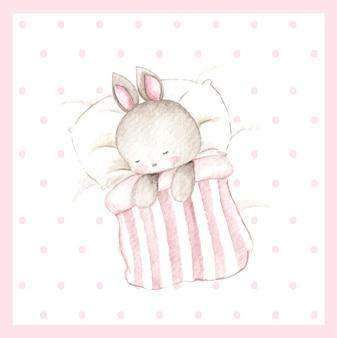 水彩おやすみ赤ちゃんうさぎ。ゆっくりお休み。