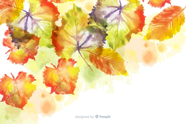 Watercolor gradient autumn leaves background