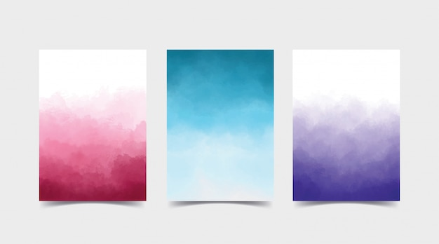 Watercolor gradient background set bundle. it is suitable for covers, background for invitation, and creative design. set consist of three color, pink, blue and purple