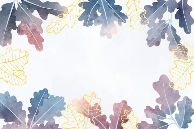 수채화 그라데이션 나뭇잎 배경