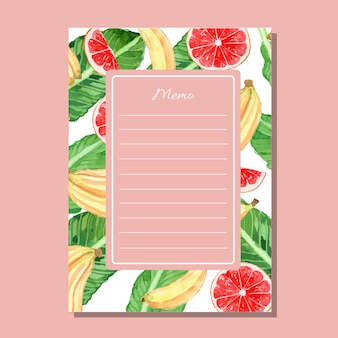 Watercolor grapefruit and banana lined memo printable template