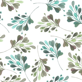 Watercolor green abstract branches seamless pattern