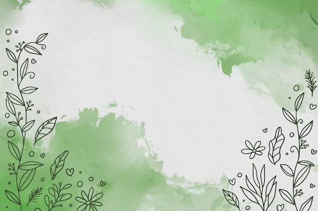 Watercolor green background with flowers