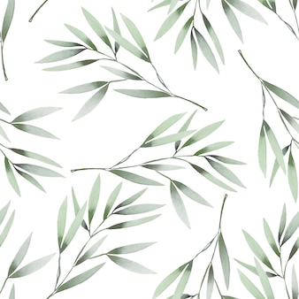 Watercolor green branches seamless pattern