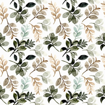 Watercolor green brown leaves seamless pattern