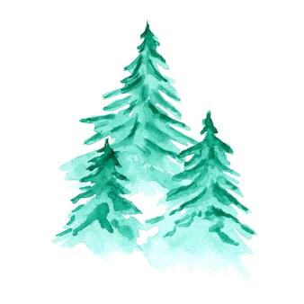 水彩の緑のモミの森