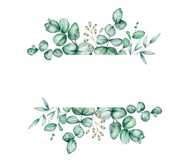 ユーカリの葉と枝と水彩の緑の花のバナー