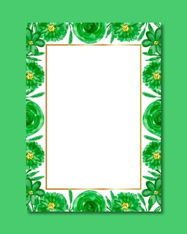 Watercolor green flower frame background
