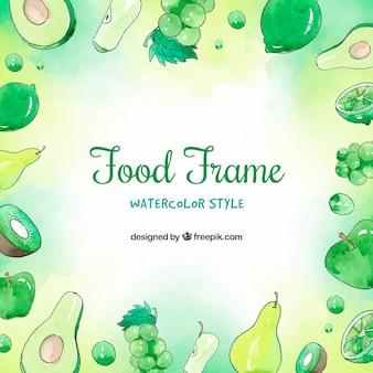 수채화 녹색 과일 프레임