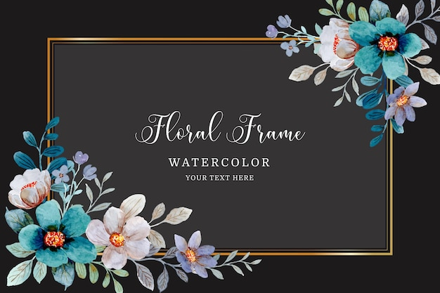 Watercolor green gray floral frame