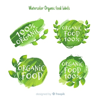 Watercolor green healthy food label pack