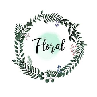 청첩장에 대 한 수채화 녹색 잎 원 꽃 프레임