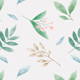 수채화 녹색 잎 패턴 벡터