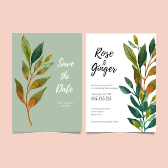 Watercolor green leaf wedding card save the date