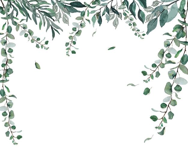 수채화 녹색 흰색 배경 위에 체인 커튼 나뭇잎